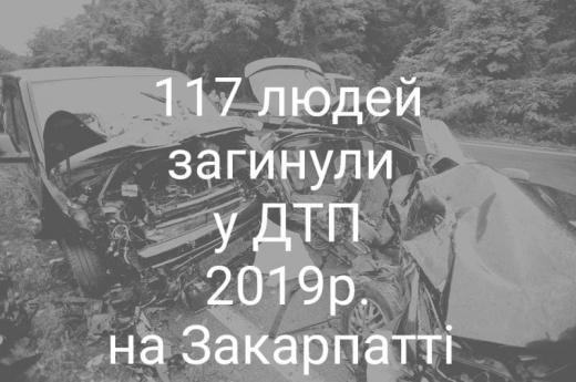 У аваріях на дорогах 2019-го року на Закарпатті загинуло 117 людей
