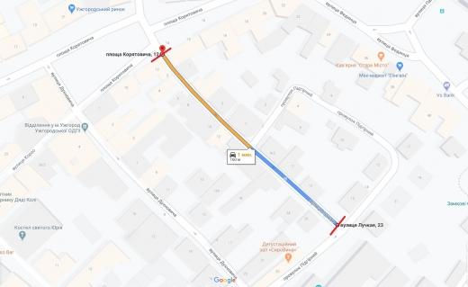 В Ужгороді перекриють проїзд по одній з вулиць міста (КАРТА)