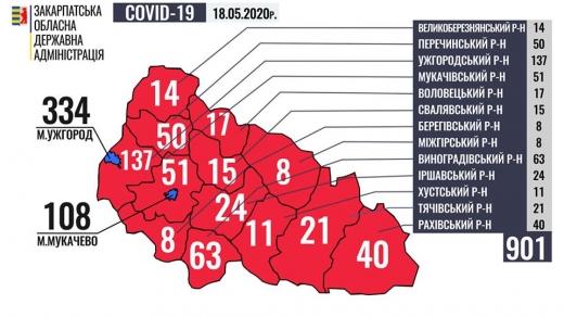 Ситуація щодо поширення COVID-19 на Закарпатті: інфографіка по районах