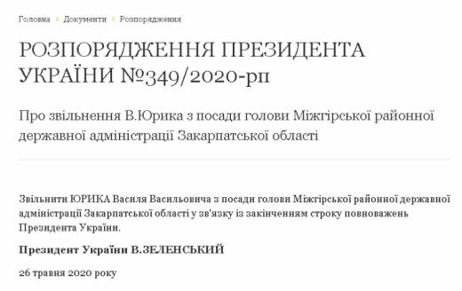 Голову однієї з райдержадміністрацій Закарпаття звільнено за наказом Президента