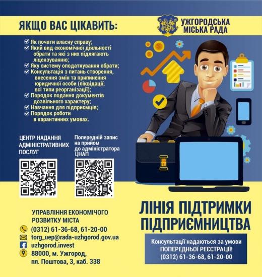 В Ужгородській міській раді працює «Лінія підтримки підприємця»