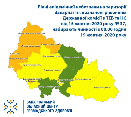 """На Закарпатті в """"помаранчевій"""" зоні Ужгород, Берегове та чотири райони: інфографіка нових випадків COVID-19"""