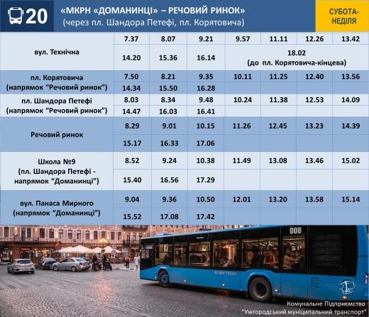 На вихідні розклад руху комунальних автобусів в Ужгороді зміниться: подробиці