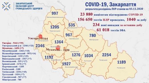Ситуація з коронавірусом на Закарпатті: 234 нові випадки (Інфографіка)