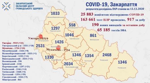 На Закарпатті за минулу добу зафіксували 190 нових впадків COVID-19