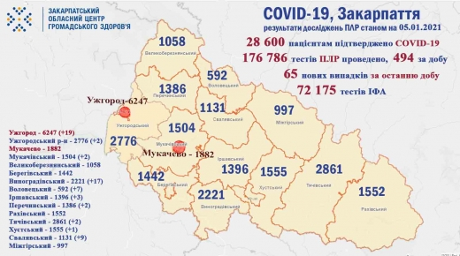 За добу на Закарпатті виявили 65 нових випадків коронавірусу (Інфографіка)