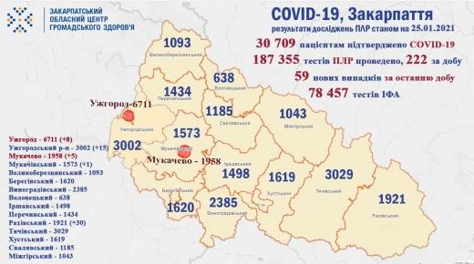 На Закарпатті за добу 4 осіб померло від COVID-19, виявлено 59 нових випадків
