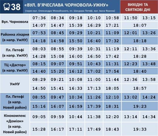 З 27 січня зміниться графік руху ще одного маршруту в Ужгороді