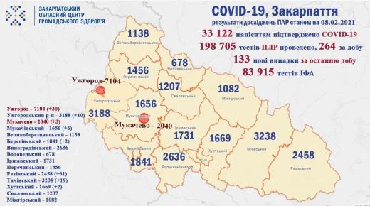 На Закарпатті за добу померло 9 осіб, виявлено 133 нових хворих
