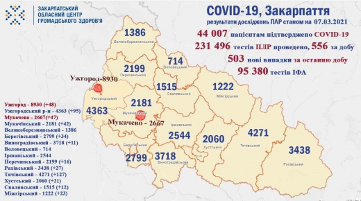 На Закарпатті зафіксовано 503 нових випадки інфікування COVID-19 за добу