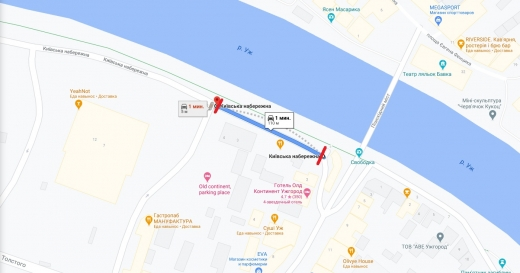 В Ужгороді на 2 тижні перекриють проїзд на ділянці Київської набережної (КАРТА)