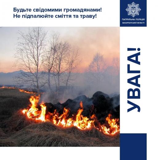 Штрафи за шкоду довкіллю: патрульні Закарпаття закликають краян не палити траву та сміття