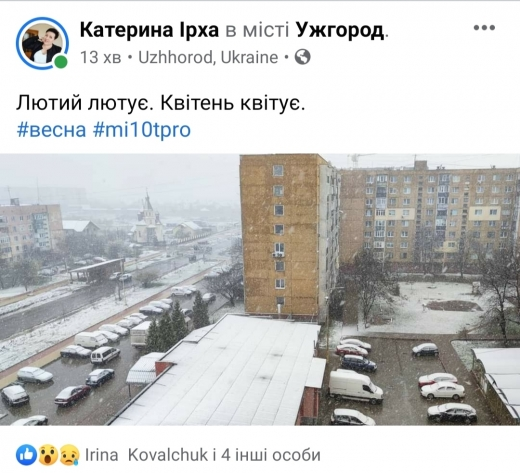 Закарпатці жартують над несподіваним снігом у квітні: приклади (ОНОВЛЕНО)