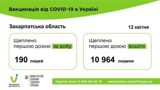 З початку вакцинації на Закарпатті щеплення отримали майже 11 тисяч людей