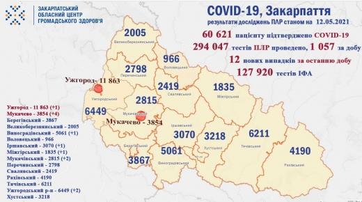 Коронавірус на Закарпатті: 12 випадків за добу, 5 пацієнтів померли