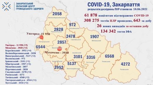 Коронавірус на Закарпатті: 28 нових випадків за добу