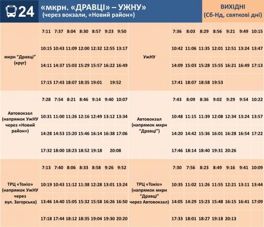 Графік руху маршруту №24 в Ужгороді у вихідні оновлено