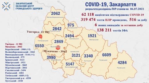 За добу на Закарпатті виявили 6 нових випадків COVID-19