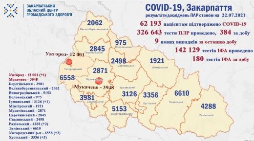 За добу на Закарпатті виявили 9 нових випадків COVID-19