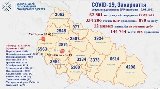 За добу на Закарпатті виявили 12 нових випадків COVID-19