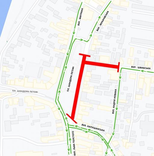 До уваги водіїв: в Ужгороді перекриють ділянку площі Петефі