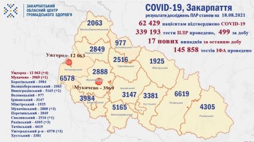 Коронавірус на Закарпатті: за добу виявили 17 нових випадків